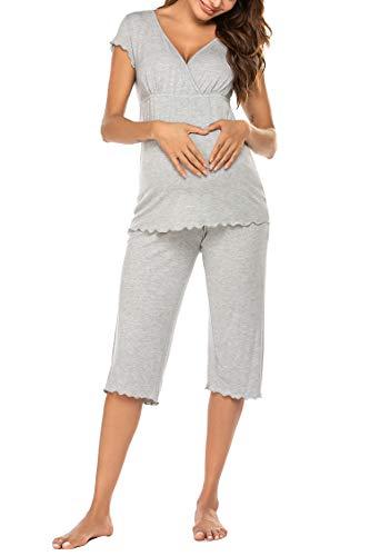 Ekouaer Nursing Pajamas Maternity Pajama For Hospital Nursing Pajamas & Sleepwear Set
