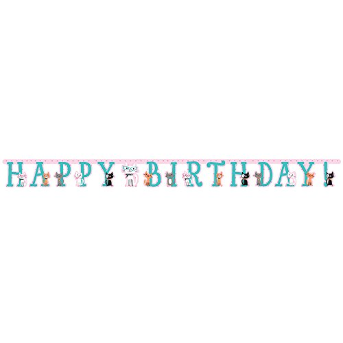 Creative Converting 330135 Happy Birthday Cat Banner  Purr Fect Party