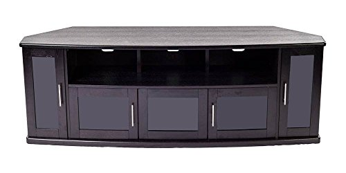 Plateau NEWPORT80B Corner Wood TV Stand with Black Oak Finish, 80-Inch
