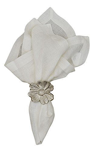 Bold Flower Ring - Split P Metal Flower Napkin Ring, Silver, 2