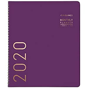 "AT-A-GLANCE 2020 Monthly Planner, 9"" x 11"", Large, Contemporary, Purple (70250X59)"