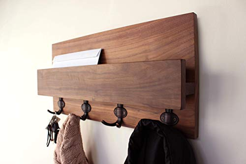 Modern Rustic Solid Hardwood Shelf - Entryway Coat Rack Organizer with Phone and Mail Storage, Letter Holder, Home Decor, Wall Organizer #1 … (Walnut, Oil Brushed Bronze ()