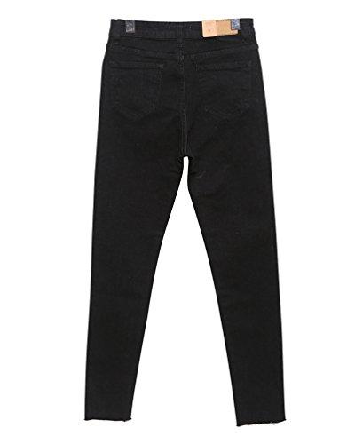 Femmes Femme Pantalon Lihaer Occasionnels Enfants Noir Slim Haute Fashion Taille Jeans Jeans A Pour Droit Stretch I447TX