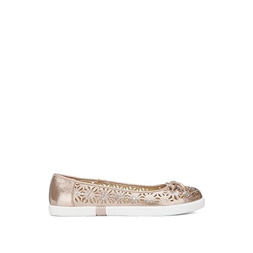 Kenneth Cole REACTION Women's Row-Ing 2 Slip on Skimmer Bow Detail Ballet Flat, Soft Gold, 8 M US Bow Detail Flats