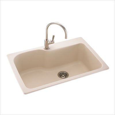 Swanstone KS03322SB.035 Solid Surface 1-Hole Drop in Single-Bowl Kitchen Sink, 33-in L X 22-in H X 10-in H, Arctic ()