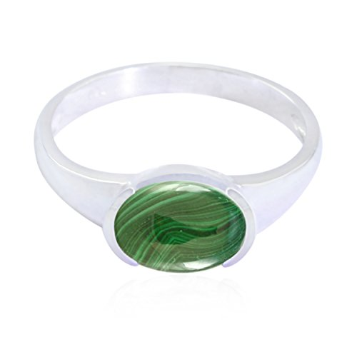 RGPL-Good Gemstones Oval Cabochon Malachite Ring - 925 Sterling Silver Green Malachite Good Gemstones Ring - Wholesale Jewellery fine Selling Shops Gift for Mother's Day Nature Ring ()