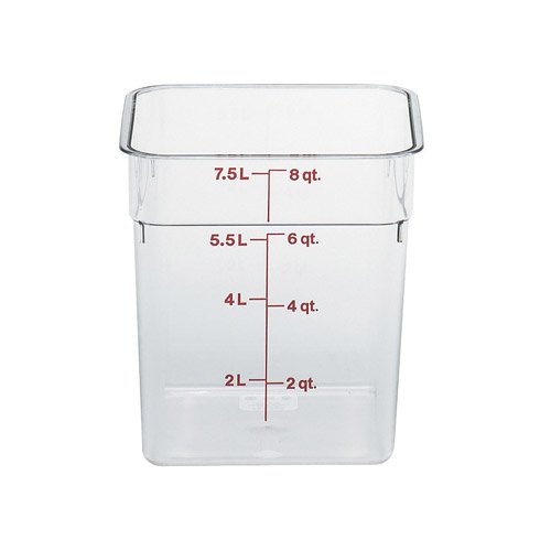 CAMBRO 8 QT. Camwear Polycarbonate Cam-Square Food Storage Container (Clear) with LID Cover, 8 Quart (7.5L)
