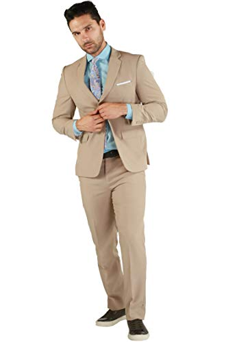 46S Paul Lorenzo Mens Tan Slim Fit 2pc Suit