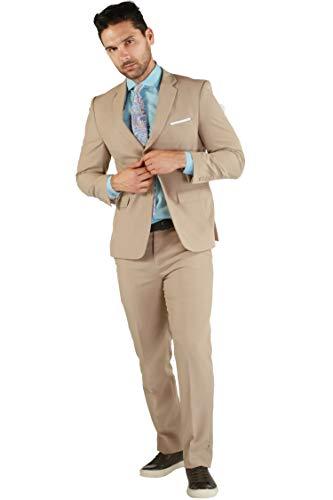 42R Paul Lorenzo Mens Tan Slim Fit 2pc Suit