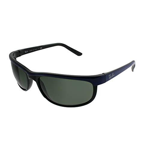 Ray-Ban Men's RB2027 Predator 2 Rectangular Sunglasses, Blue On Black/Green, 62 mm