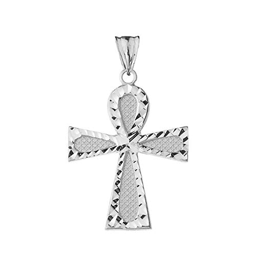 Bold Sterling Silver Filigree-Style Ankh Cross Pendant