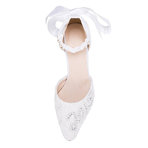 Kevin Fashion ZMS1520 Womens Stylish High Heel Lace Bridal Wedding Party Evening Prom Pumps Shoes White 9Afdf