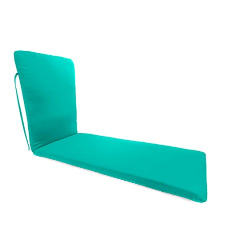 Classic Polyester Outdoor Chaise Cushion With Ties, 76'' x 23'' x 3'' hinged 47.5'' from bottom - Aqua ()