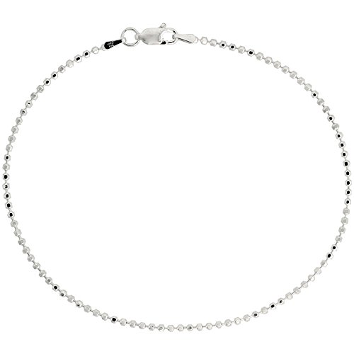 Sterling Silver Faceted Pallini Bead Ball Chain Necklace 1.8mm Nickel Free Italy, 30 inch