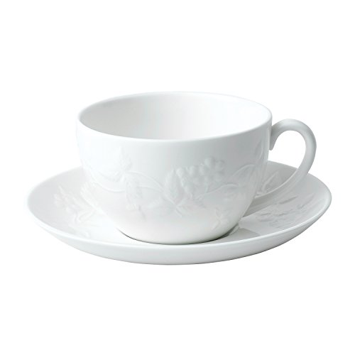Wedgwood 40029579 Teacup and Saucer Set, 1, Wild Strawberry White (Bone Wild Strawberry)