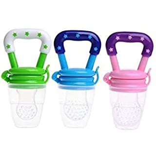 Baby Fruit Feeder Pacifier 3Pack-Fresh Food Feeder-Silicone Nipple Teething Toy-Silicone Pouches for Toddlers & Kids