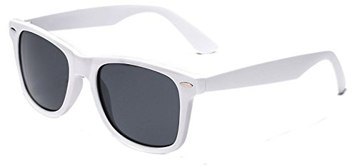 WebDeals - Color Mirror Reflective Lens and Dark Horn Rimmed Large Square Sunglasses (White Square Sunglasses)