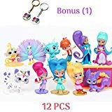 Shimmer and Shine Figure Set 12pcs Cake Toppers Party Supplies Birthday Decorations Genies Shimmer, Shine, Zac,Leah,Tala, Kaz and more Toys + BONUS Keychain