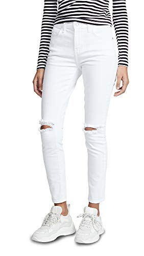 Current/Elliott Women's The High Waist Stiletto Jeans, 2 Year Destroy Stretch White, 23