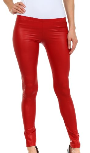 FOMatteLiquid8515 Footless Ultra Slim Fit Matte Liquid Wet Look Leggings - red / Medium