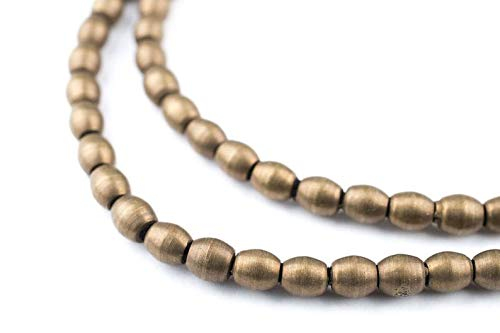 (World's Natural Treasures - 110 Smooth Oval Antiqued Brass Beads: Metal Spacer Beads Ethnic Metal Beads Boho Brass Beads Oval Shaped Beads (MET-OVL-BRS-620))