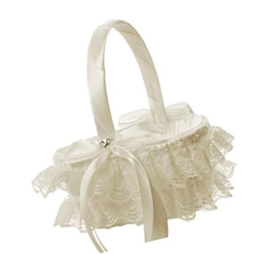 Wedding Flower Baskets Lace Ribbon Bride Bridesmaid Wedding Bouquet |Color - Milk White| ()