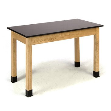 National Public Seating Science Lab Table 36 Inch H - Phenolic Top - Plain Front - 24 X 48 In Black, Oak by National Public Seating