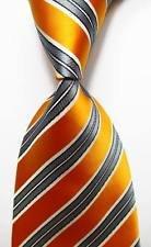 Playboy Bunny Costume Makeup (jacob alex #38324 Classic Necktie Striped Orange Gray White JACQUARD WOVEN 100% Silk Men's Tie)