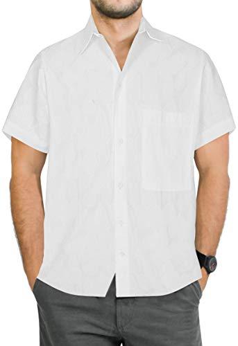 Shirt Camp Hawaiian - LA LEELA Men's Camp Hawaiian Shirt Beach Aloha Swim Shirt for Men S White_Aa155