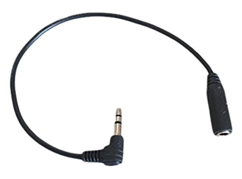 Black 90 Degree 3.5mm Male to Female Extension TRS Cable Adapter By Stargazer Enterprises