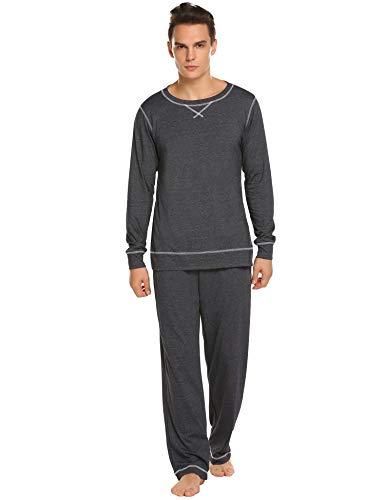 MAXMODA Men's Long Sleeve Crew Neck Solid Tee and Sleep Pant Dark Grey XL - Drawstring Neck Top