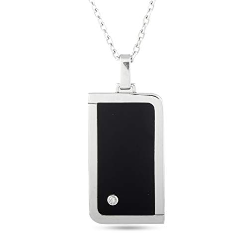 Luca Carati D.Duke 18K White Gold Diamond and Onyx Rectangle Pendant Necklace