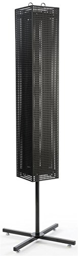"Displays2go 68"" Floor Pegboard Retail Spinner Rack, Rotating, Magnetic (MD4PFSBK)"
