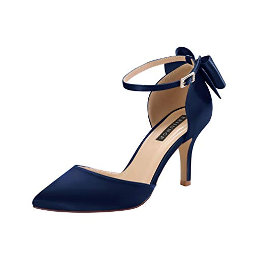 ERIJUNOR E1876B Wedding Evening Party Shoes Comfortable Mid Heels Pumps with Bow Knot Ankle Strap Wide Width Satin Shoes Navy Size 10