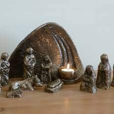 Wild Goose Studio Nativity Set Irish 12 Piece Resin Cast Bronze Coated Long Lasting 10 Inches by 6 3/4 Inches Background Made in Ireland
