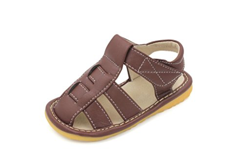 Little MAE'S Toddler Boy Sandals | Brown Fisherman Closed Toe Squeaky Sandals | Premium Quality (Removable Squeakers) (8)