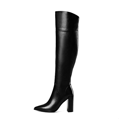Toe Black Heels Block Fashion Knee Leather Genuine Zipper The Winter Women Boots Ladies Pointed High Heels Over qUvIax
