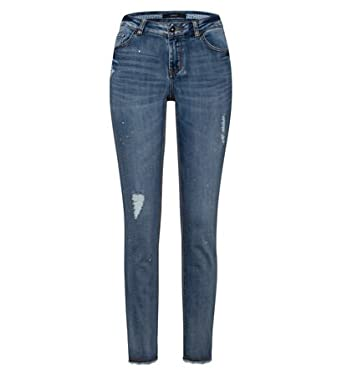 ac14d9961e46 zero Damen Jeans mit Used-Look-Details 302684 washed blue sprin 44 ...