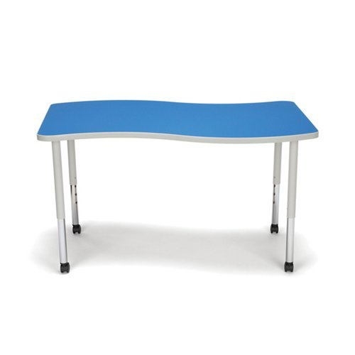 Adapt Standard Height Mobile Wave Table 54''W Blue Laminate Top/Gray Frame