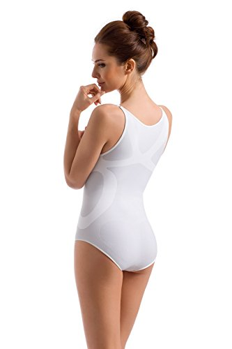 Envie® Damen Shapewear Body figurformend und komfortabel mit verstellbaren Trägern, seamless - (Made In Italy) Weiß S -36 EU