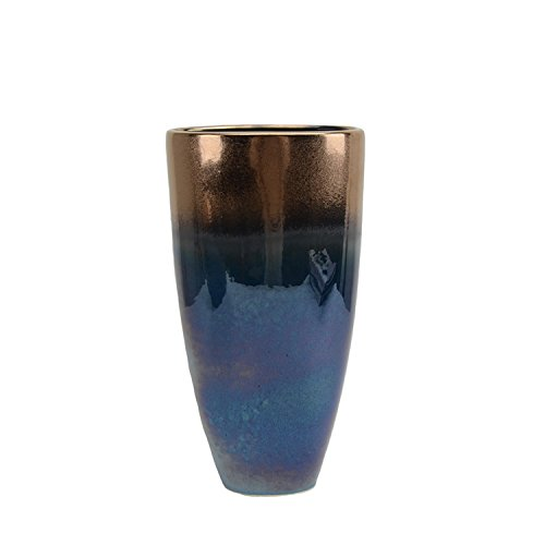 Sagebrook Home 13723-02 Ceramic Vase, 8.25 X 3.5 X 15.75, Copper/Blue