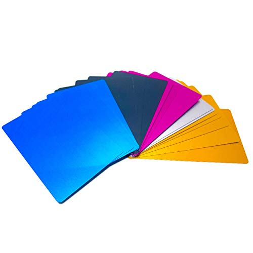 Malayan - 50 PACK Anodized Aluminum Business Card Blanks - Laser Engraver and CNC Engraving Color Options Available (Mixed Pack)