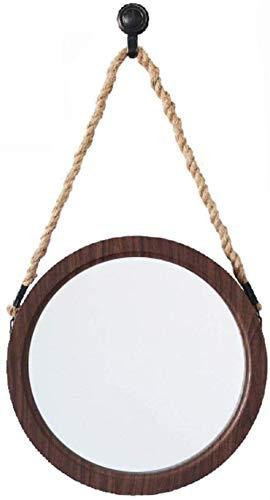 Gflyme Makeup Mirrors Retro Hanging Mirror with Hemp Rope Decorative Wall Mirror - Edge Bathroom Plane Beveled Mirrors