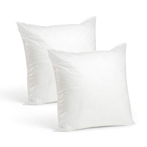(Set of 2-20 x 20 Premium Hypoallergenic Stuffer Pillow Insert Sham Square Form Polyester, Standard/White - Made in USA)