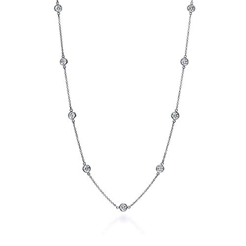 (Jane Stone 14K White Gold Necklace Delicate Cubic Zirconia Chain Necklace for Women (Silver))