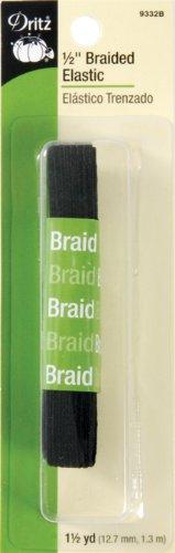 Dritz Elastic (Dritz 9332B Braided Elastic, Black, 1/2-Inch)