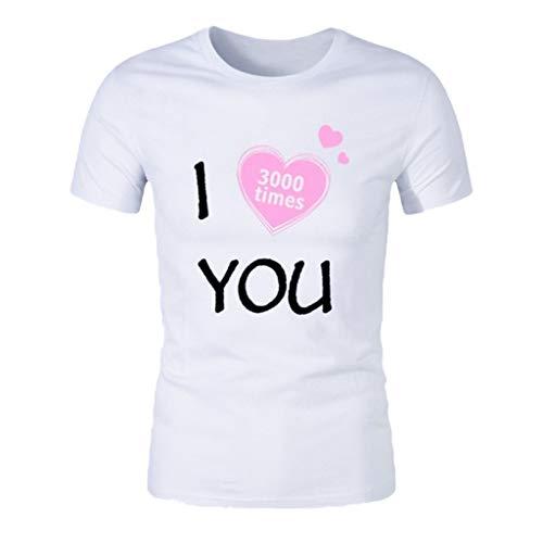 Mens Summer Fashion Casual Love You 3,000 Times Print Short Sleeve T-Shirt Blouse White]()