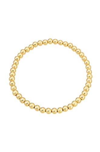 14k gold bead bracelet, 4mm ()