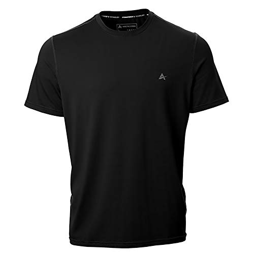 Arctic Cool Men's Crew Neck Instant Cooling Short Sleeve Shirt Performance Tech Breathable UPF 50+ Sun Protection Moisture Wicking Comfortable Athletic Gym Quick Drying, Cool Black, L