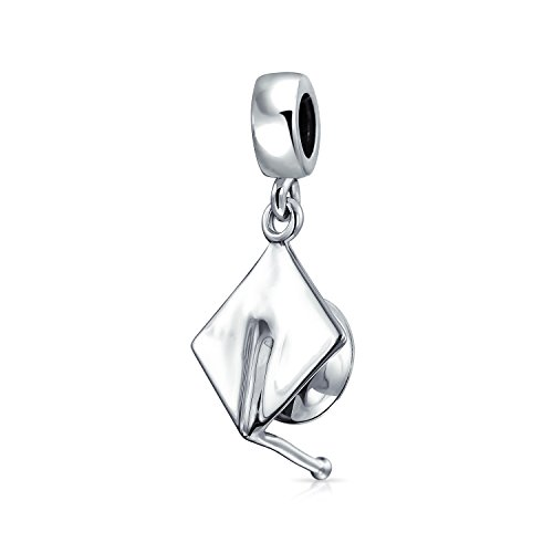 Graduate Graduation Trencher Cap Engravable Dangle Bead Charm 925 Sterling Silver Fits European Bracelet